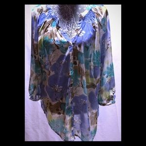 Avenue Sheer Floral Tunic Top Size 18/20